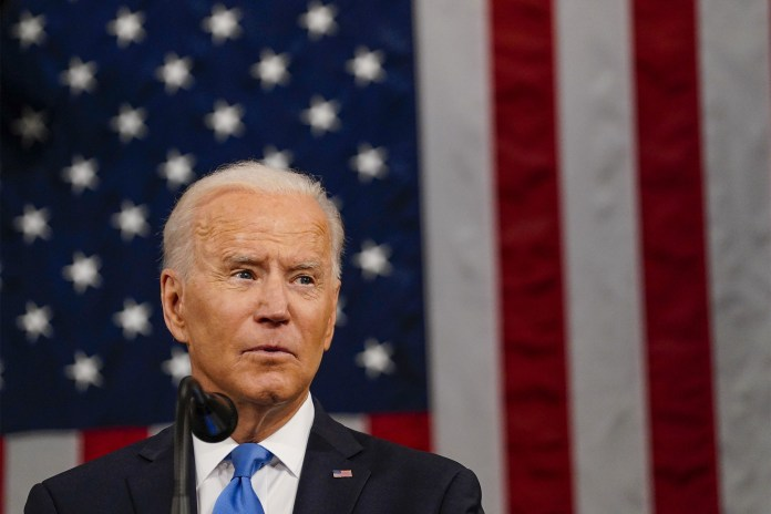 President Joe Biden speaks during a joint session of Congress at the US Capitol on Wednesday, April 28, 2021.