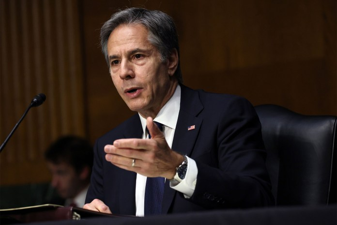 Secretary of State Anthony Blinken testifies during a Senate Appropriations subcommittee hearing on the Department of State budget request on June 08, 2021 in Washington, DC.