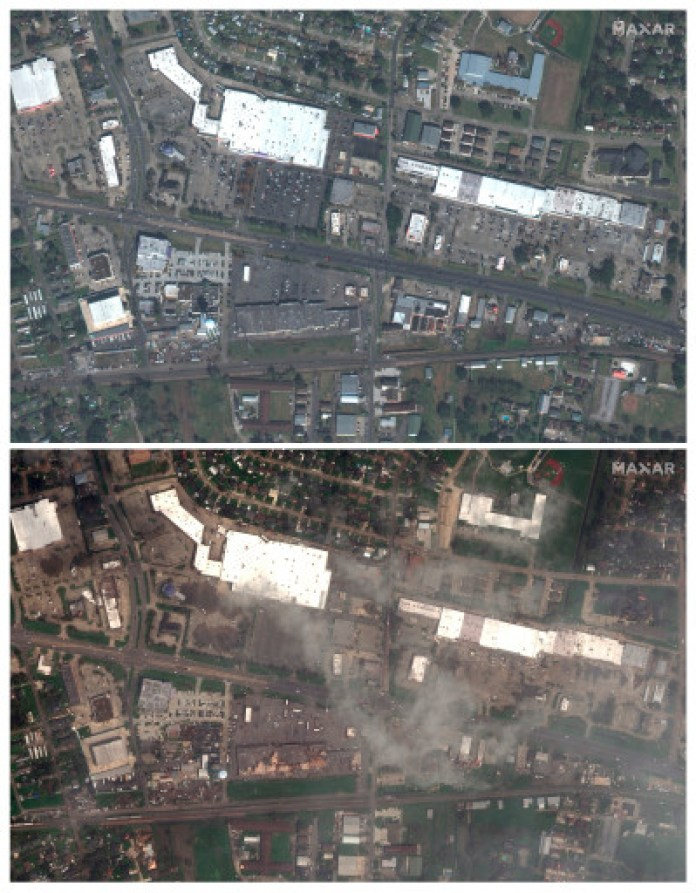 A satellite image shows the destruction of a shopping center, buildings and Airline Highway in LaPlace, Louisiana.