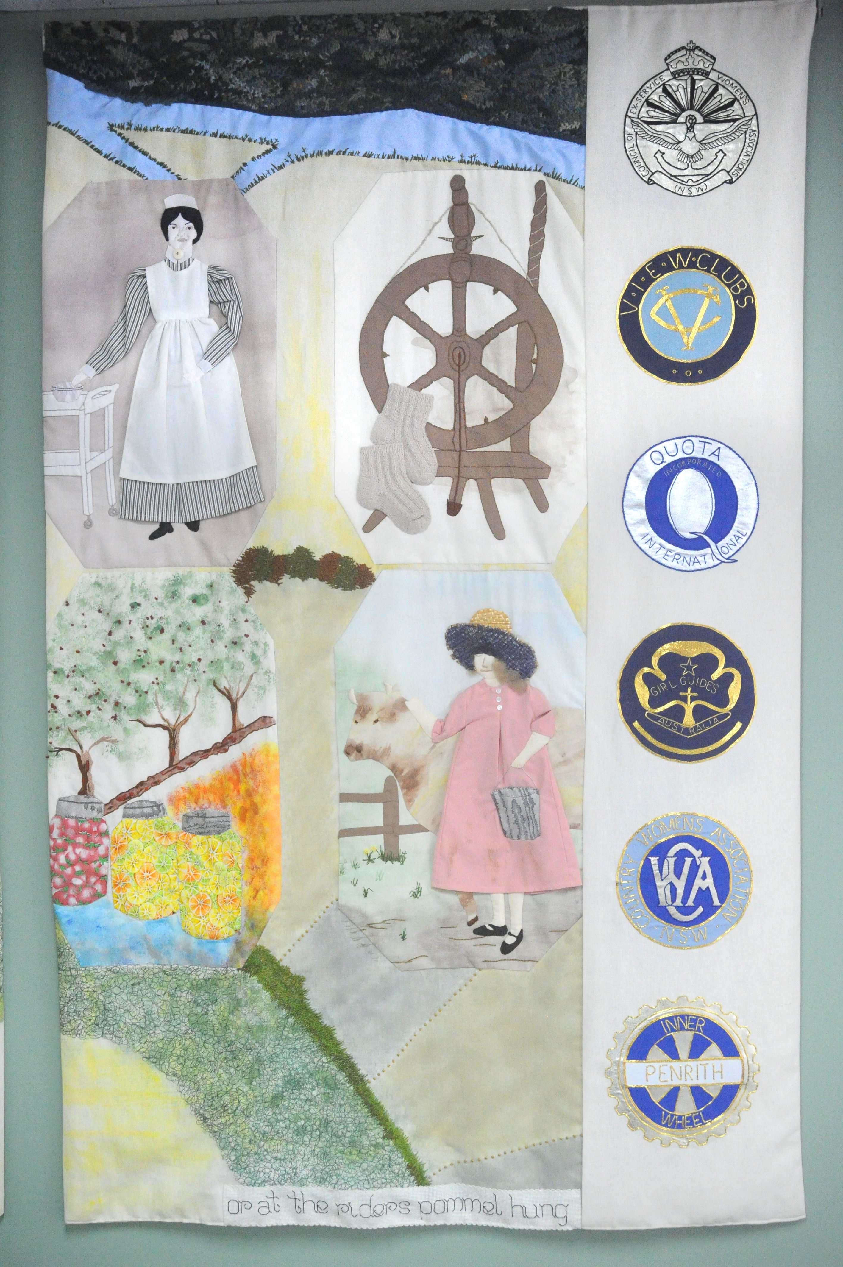 Not just stitches panel 6 - women at work in nursing, handicrafts, kitchen and on the farm and badges representing women's organisations in the local area.