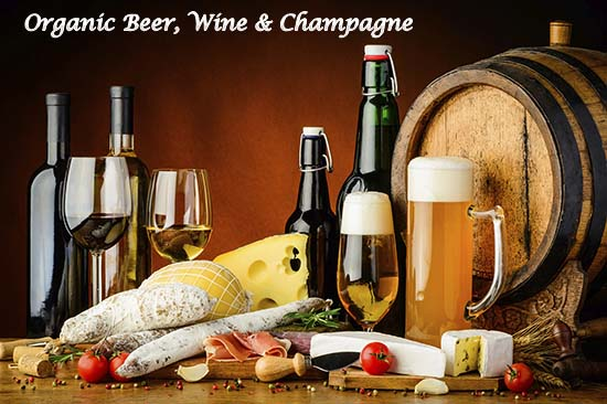 organic wine, beer, and champagne