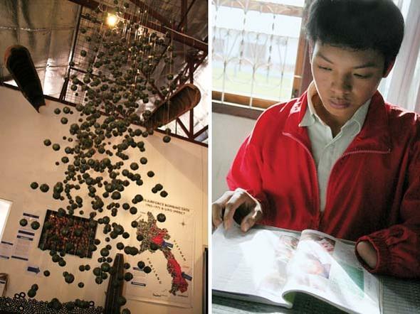라오스 불발탄 사고의 대부분을 차지하는 집속탄 'BLU 26' 투하 장면을 모형화 해놓은 전시장. 큰 �탄 안에 수많은 작은 �탄이 들어 있는 집속탄은 살상 반경이 대단히 넓다(왼쪽). 샹쾅에 사는 톰미 실람판(19)은 12년여 전 대나무 죽순을 캐다가 땅속 깊이 박힌 집속탄 �발 사고로 왼손을 잃었다. (Photo by Lee Yu Kyung)
