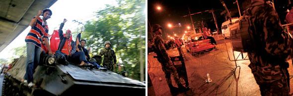 처음엔 평화적 시위였다. 방콕 일대에 비상사태가 선포된 4월12일 '붉은 셔츠' 시위에 참가한 이들이 군의 탱크에 올라 반정부 구호를 외치며 내달리고 있다(왼쪽). 이튿날 새벽 군이 시위대를 향해 발포하면서 상황은 완전히 달라졌다. 4월12일 밤 타이군 병사들이 방콕 시내 곳곳에 철조망을 설치하고 있다.(Photo by Lee Yu Kyung)