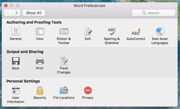 The Word Preferences window