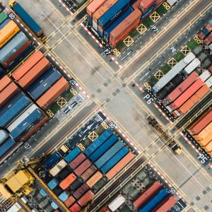 Shipping containers viewed from above