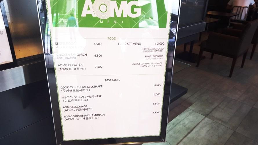 Food menu at Cafe Dudart with AOMG
