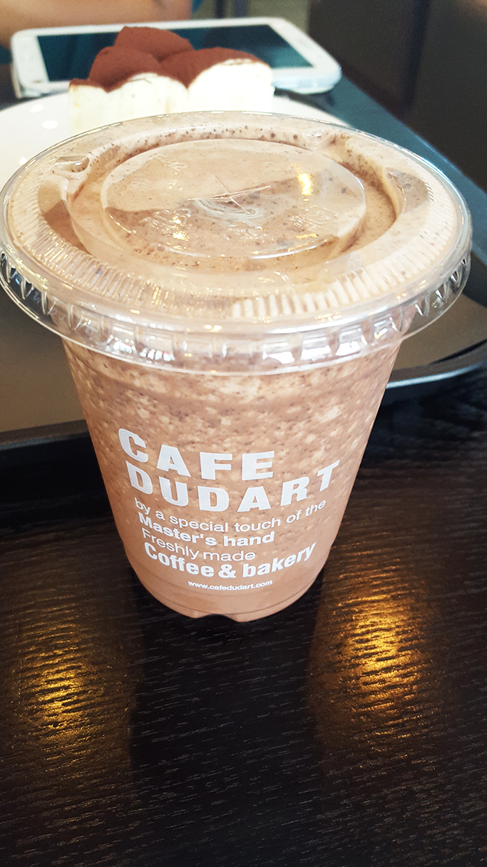 Chocolate chip frappe at Cafe DUDART with AOMG