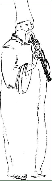 De rietfluitspeler, droge pentekening, 1999. Pentagram.
