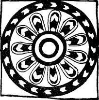 Geëmailleerde tegel met elfbladerige roos. Nimrod, Assyrië.