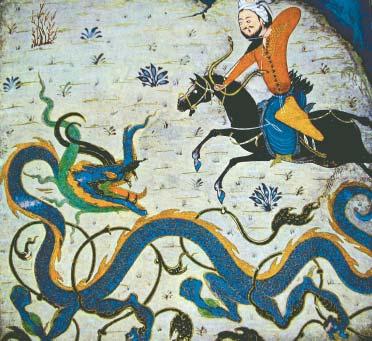 Perzische miniatuurmet een bij uitstek universele symboliek: de Lichtbrenger die de draak of de slang verslaat.