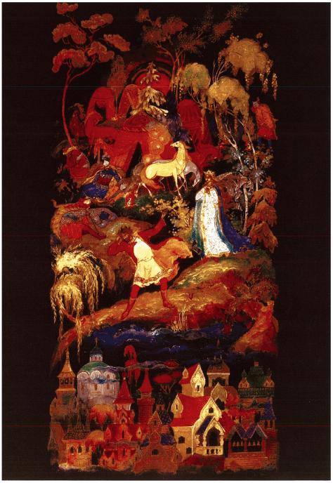 Paneel met Het visioen van Kitesj onder water, T Zubkova, 1968. ]~mpera, goud en lak op papier maché.