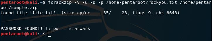 fcrackzip password find