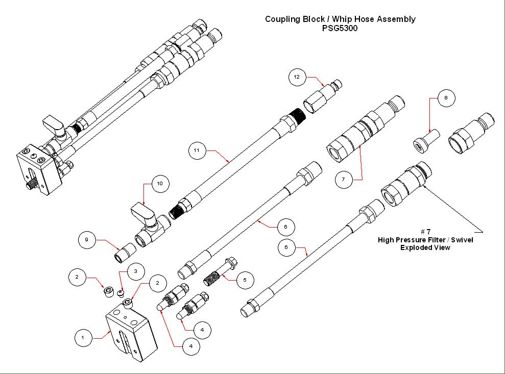 PSG5300 Coupling Block Whip Hose Assemblyt