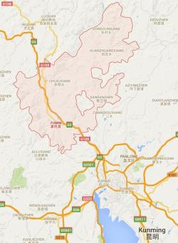 Fumin County (pink) to the northwest of Kunming, Yunnan Province