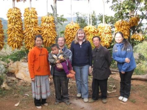 Wang Huizhong with his wife and son, Lisa, Wang Ziqin and Luo Jing in Dàpíngtái Miao village.