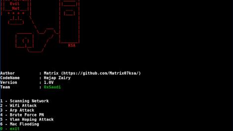EvilNet - Network Attack Wifi Attack Vlan Attack Arp Attack Mac Attack Attack Revealed Etc...