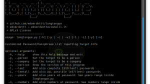 Longtongue - Customized Password/Passphrase List Inputting Target Info