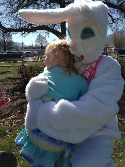 Easter bunny hugs at the Loco Landing Easter Egg Hunt in Penticton.