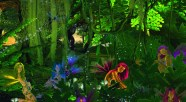 A collage of fairies in the forest with vines plants and flowers