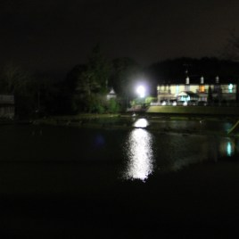 The ペンション over the pond, from the onsen hotel side.