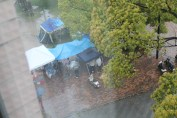 People partying out in the rain.