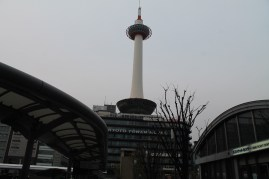 View of the Kyoto Tower from the train station.