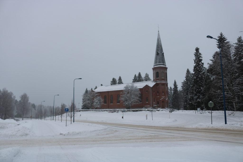 A distant picture of the Liperi Church