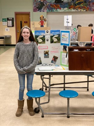 Madelyn Grimes, a sixth grade student at the Helen R. Donaghue School in Merrimac, will be showcasing her invention, the Glow Feeder, during the remotely held National Invention Competition this June. She presented her project at an in-person fair earlier this school year. (Courtesy Photo Pentucket Regional School District)