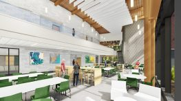A rendering of the dining commons that will be built for the Pentucket Regional Middle-High School building. (Courtesy Image Pentucket Regional School District)