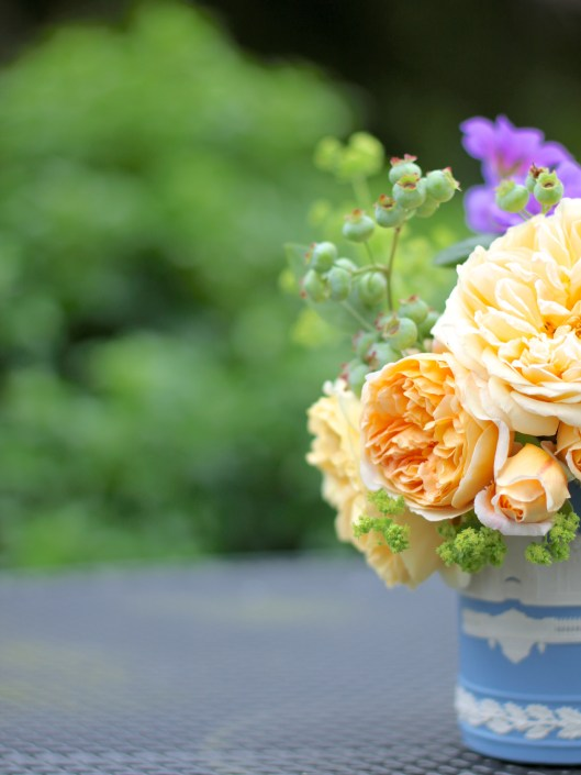 Roses with Alchemilla Mollis