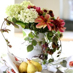 A natural autumn inspired jug of flowers including fading Hydrangea Annabelle, dahlia Dark Butterfly, zinnia Queen Red Lime, black tomatoes and tendrils of Cobea Scandens.