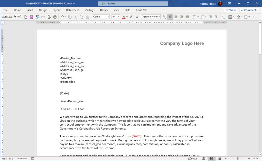 Furlough Letter Example