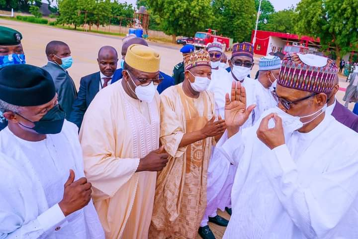 Osinbajo, Fayemi, others welcoming PMB at his son's wedding