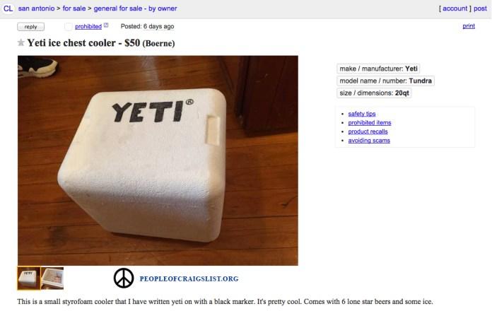 Craigslist Yeti Cooler funny