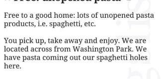 Free Unopened Pasta!