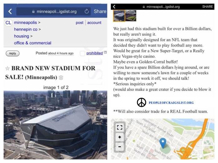 us bank stadium vikings for sale on craigslist
