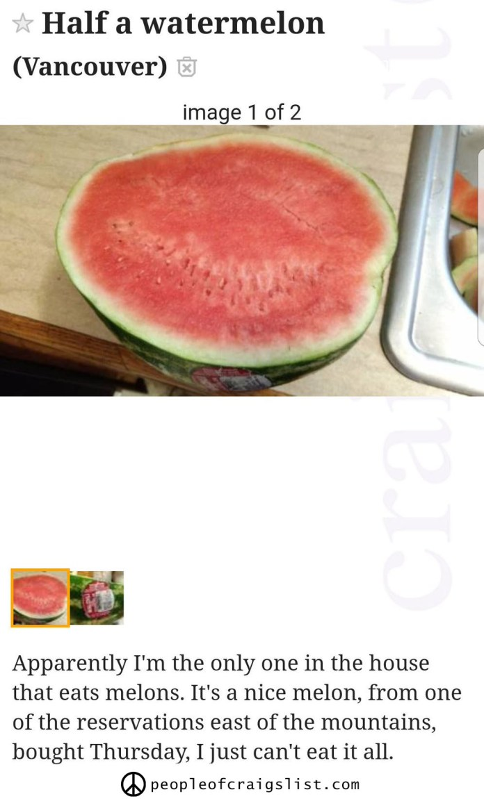 Half a watermelon on craigslist