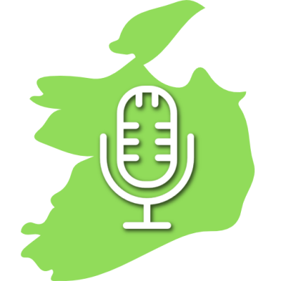 podcast logo; map of the Republic of Ireland with a microphone superimposed over the top