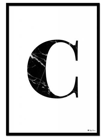C - Marble Letter poster | Minimalistic typography poster with black marble texture