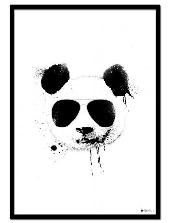 Cool Panda poster | Creative art print of a panda with sunglasses and ink splatter effects.