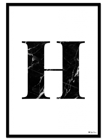 H - Marble Letter poster | Minimalistic typography poster with black marble texture.