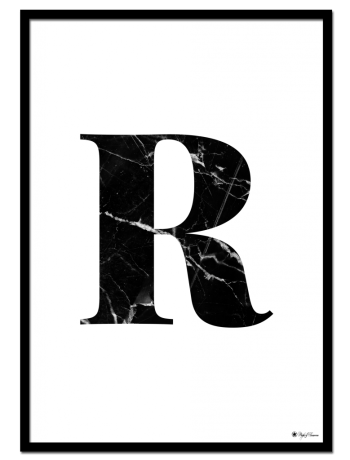 R - Marble Letter poster | Minimalistic typography poster with black marble texture.