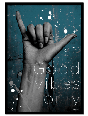 Good Vibes Only poster | Artistic art print of hand gesture on teal colored background.