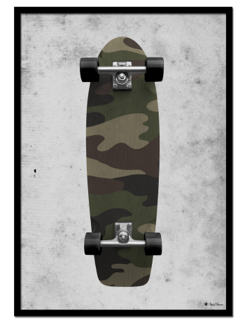 Skate poster | Camouflage skateboard on grunge background.
