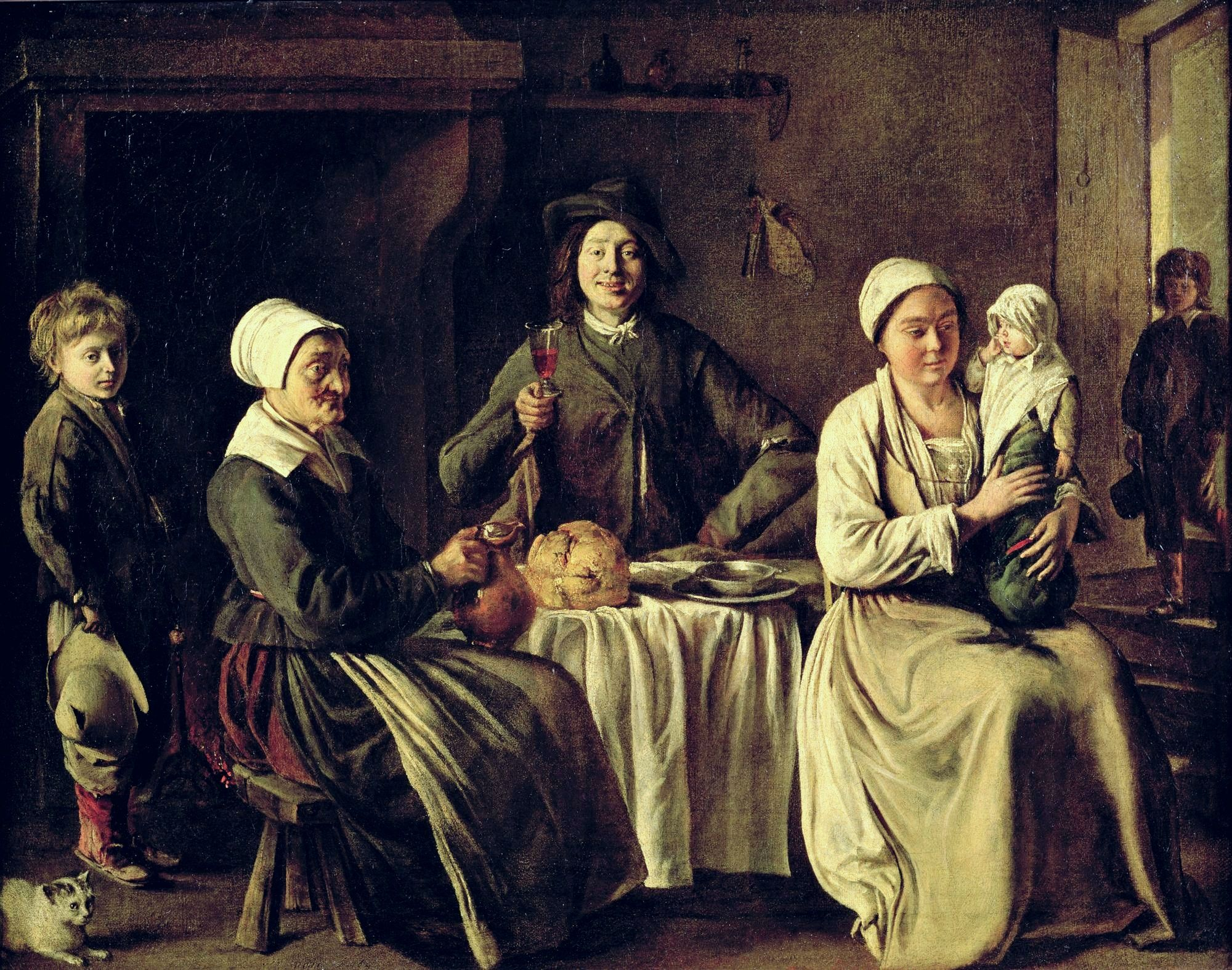 PWI90079 The Peasant Family, 1642 (oil on canvas) by Le Nain, Antoine and Louis (d.1648) & Mathieu (1607-77); 61x78 cm; Louvre, Paris, France; Peter Willi; French,  out of copyright