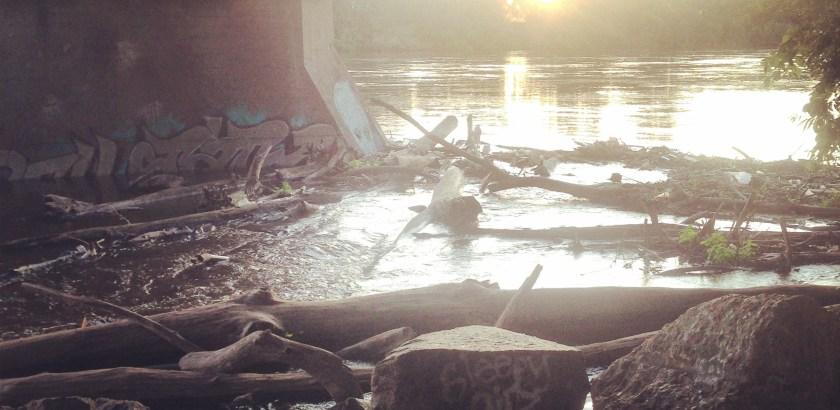 Hobo sunset beer spot: Under a train bridge along the Mississippi River