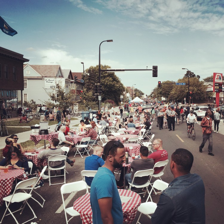 Restaurants moved tables into the street on a sunny Minneapolis autumn day