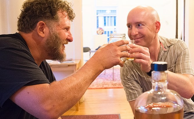 New ships mate Age and I celebrate his arrival with a shot of Dr Thunders peachy fire whiskey
