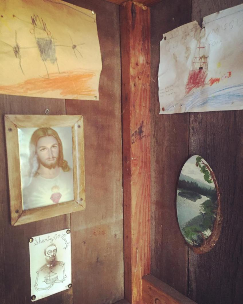 A Butch Anthony joins Jesus in the Jeremiah Daniels Executive Washroom Gallery aboard the Shantyboat Dotty. Along with works by Maxine and Sasha Stonebloom