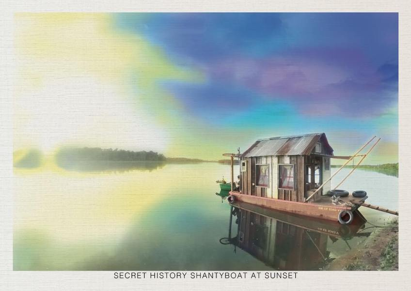 """Secret History shantyboat at sunset"